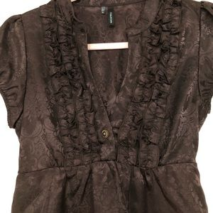 Maurices brown blouse damask print small